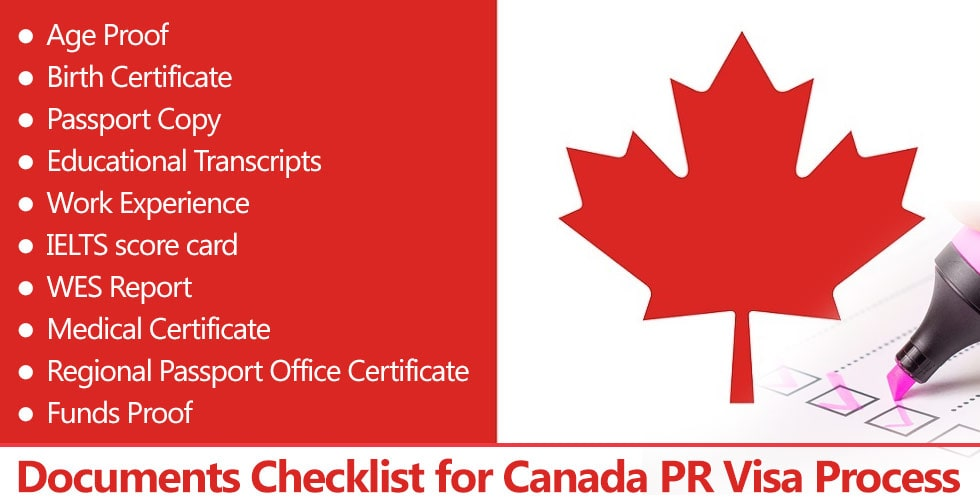 Documents for Canada PR Visa Process